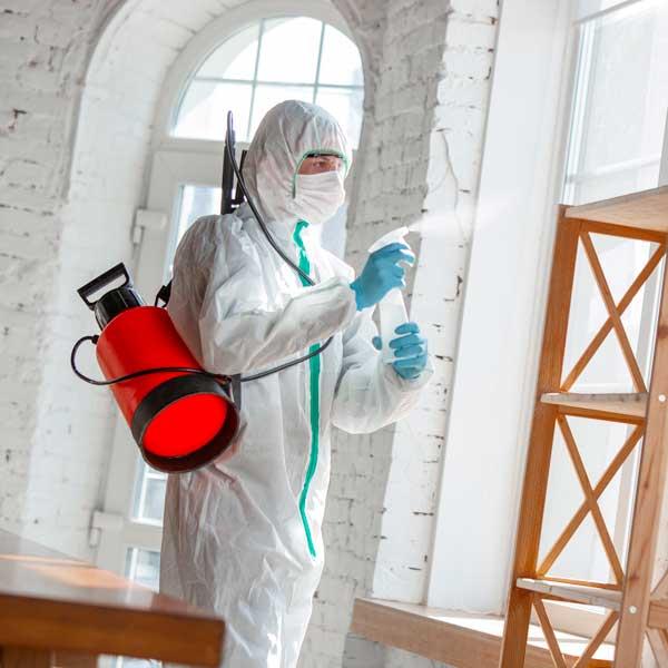 hombre desinfectando con Ácido Hipocloroso en spray